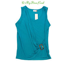 JON & ANNA NEW YORK TEAL GREEN DRAPED FRONT SLEEVELESS BLOUSE TOP S M B64