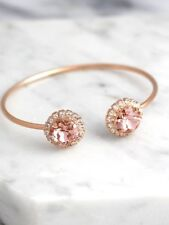 3 ct Round Morganite & Sim Diamond Halo Cuff Bracelet 14k Rose Gold Fn Silver