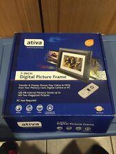 "Ativa 7"" Black Digital Photo Frame w/ Remote Frame Stand 128MB NEW 561-410"