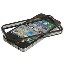 Black-Clear Bumper Frame TPU Silicone Case for iPhone 4 4G 4S CDMA  With Buttons