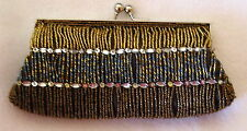 NEW Lady MONI COUTURE sequin seed beaded evening Handbag shoulder purse clutch