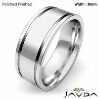 8mm Men Wedding Solid Band Flat Fit Plain Ring 18k White Gold 14gm Size 12-12.75