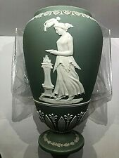 C.1869 ~ Wedgwood Jasperware Green Vase Lamp Bottom (Code Yzx) Unique Vase Nice