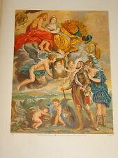 GRANDE LITHO REGAMEY JUNDT ALLÉGORIE AMOUR FEMME HOMME ANGE CUPIDON 1870