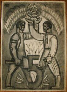 Russian Ukrainian Soviet Painting poster avant-garde cubism worker peasant plans