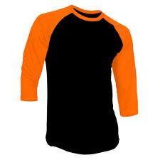 3/4 Sleeve Plain Baseball Raglan T-Shirt Tee Mens Sports Jersey Black Orange XL