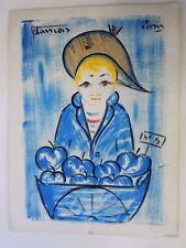 Vintage Francois French 20th C. Original Blue Boy Watercolor Gouache Painting