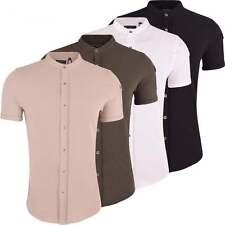 Brave Soul Mens Grandad Cotton Shirt Collarless Short Sleeve Smart Casual Shirts