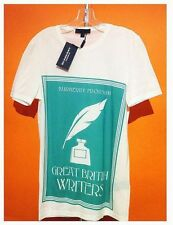 Brand New Burberry Mens Prorsum T-Shirt Off White Graphic Blue Cotton (Size XS)