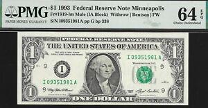 1993 $1 MINNEAPOLIS FED MULE PMG 64 EPQ ONLY 2 GRADED HIGHER SER# 1981 L@@K NR