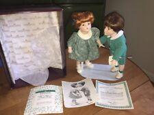 """Vintage 1992 Ashton Drake """"First Kiss"""" Porcelain Dolls With Box & COA"""