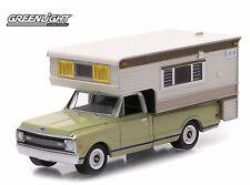 2015  GreenLight 1:64 *GREEN* 1969 Chevy C10 Cheyenne Pickup w/CAMPER *NIB*
