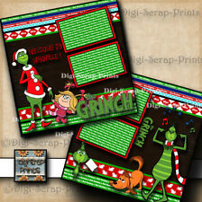 THE GRINCH ~ 2 premade scrapbook pages paper printed layout Digiscrap #A0276