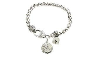 Custom Crystal Volleyball Silver Bracelet Jewelry Choose Your Initial All 26