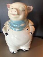 Vintage Shawnee Pottery SMILEY THE PIG COOKIE JAR ~Blue Bandana  1940's
