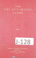 "Jones & Lamson ""The Fay Automatic Lathe"", Reference Manual 1927"