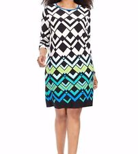 Eliza J Shift Dress In Large Chevron Size 18W