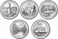"Complete 2011 ""P"" BU National Parks US Quarter Set - Five BU Coins  - ATB Set"