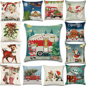 Christmas Decor Cushion Cover Elk Santa Home Sofa Bed Living Room Pillow Case
