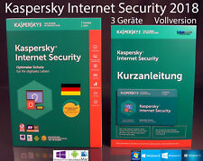 KASPERSKY Internet Security 2018 VERSIONE COMPLETA BOX 3 dispositivi PC/Mac/Android OVP NUOVO