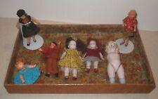 Lot Antique Miniature Dolls All Bisque Some Painted Bisque One For Parts.