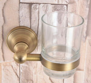 Antique Brass Bathroom Wall Mounted Toothbrush Holder & Glass Cup 2ba165