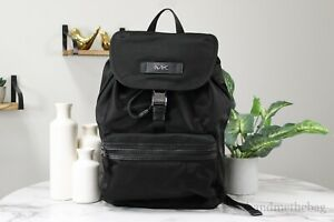 Michael Kors Mens Kent Field Flap Black Medium Nylon Backpack Bookbag Bag