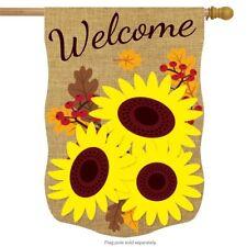 "Fall Sunflowers Burlap House Flag Floral Autumn 28"" x 40"" Briarwood Lane"