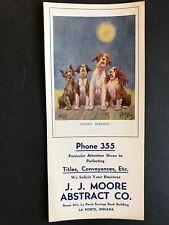 Boston Terrier, Airedale 1925 R Dickey Signed J Moore Art Blotter La Porte In