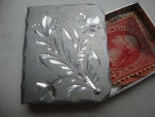 Antique Miniature Book Form Figural Stamp Box Stampbox Aluminum c. 1870-1920