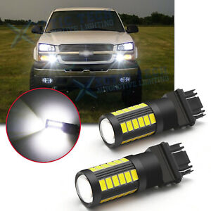 3157 3156 White LED Bulbs Daytime Running Light DRL for Chevy Silverado 1500 2pc