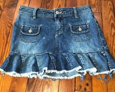 Union Bay Jeans Denim Mini Skirt Juniors Size 1 Pleated Fringe Raw Hem Skater