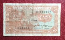 Rwnda et Burundi  - Belgique - Rare  Billet  de 5 Francs 15-05-1961