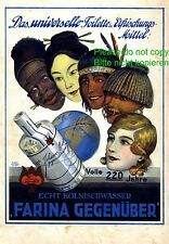 Parfum Farina Reklame 1930 Afrikanerin Chinesin Indianerin Insulanerin Erde