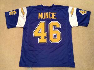 UNSIGNED CUSTOM Sewn Stitched Chuck Muncie Blue Jersey - M, L, XL, 2XL