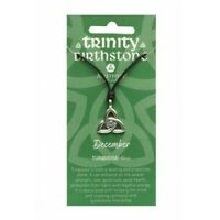 Irish Celtic Pewter Trinity CZ Birthstone Necklace with Adjustable Black Cord
