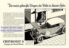 Chevrolet 6 Cabriolet Reklame 1931 Werbung ad advertising General Motors +