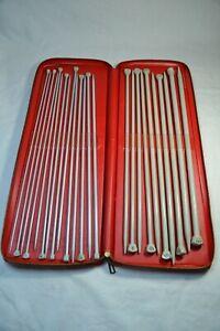 VTG Bernat Aero 14 Inch Knitting Needle Set With Red Carrying Case