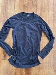 Athleta Speedlight Oceanic Blue Seamless Running Ruched Long Sleeve Top Shirt M