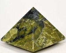 68mm Peruvian Serpentine Pyramid w/ Pyrite Green Natural Crystal Polished Stone