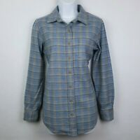 Pendleton Fitted L/S Button Front Wool Shirt Light Blue Plaid Made in USA Sz S