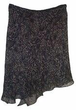 STUDIO M 100% Silk Floral Ruffled Front Asymmetrical Skirt - Lined - Sz XL - NEW