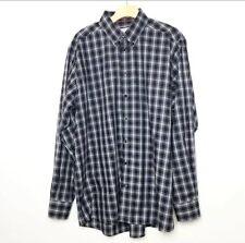 Eton Dress Shirt 45 17 3/4 Blue Plaid Long Sleeve Button Down