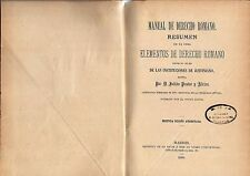 Libro Manual de Derecho Romano. 1888 Manual Book of Roman Law