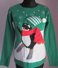 VTG Ladies NEW DIRECTIONS PETITE PENGUIN Green Xmas Jumper Size Small Petite(92F