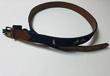 NWT Polo Ralph Lauren Men's Blue Light House Canvas Leather Belt Size 42 $165