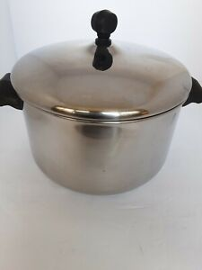 Vintage Farberware Aluminum Clad Stainless Steel 4 QT Stock Pot With Lid USA VTG