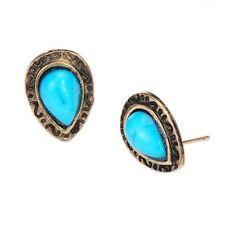 Art Deco Turquoise Stone Teardrop Stud Earrings Bronze