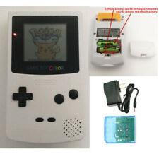 White Rechargeable Nintendo Game Boy Color Console GBC Console with Card&Charger