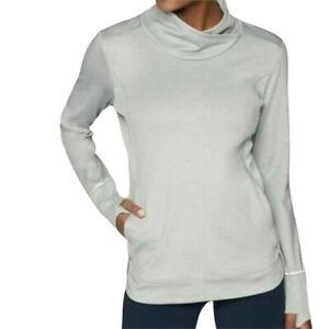 Athleta Womens Stowe Pullover Size XXS Gray Heather Workout Plush Tech Wicking